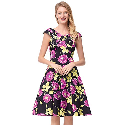 JOYIYUAN Damen Retro-Weit-Revers Floral Breasted Dress 50er Vintage Hepburn Swing-Kleid mit Gürtel (Farbe : Lila, Size : XL)