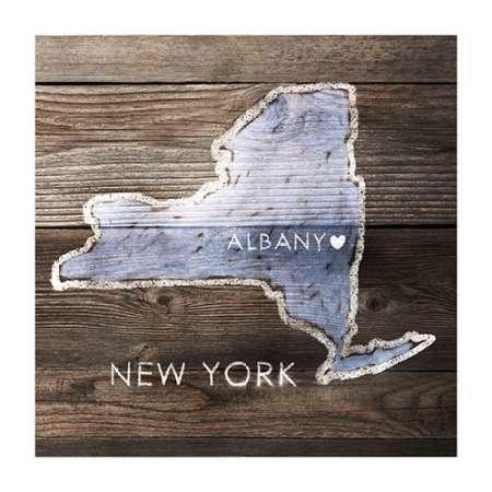 Feeling-at-home-Kunstdruck-New-York-Rustic-Karte-cm71x71-Poster-fuer-Rahmen