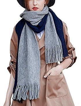 Aivtalk - Bufanda de Punto con Fleco de Moda para Invierno Hombre Mujer - Azul Marino - 45x200cm