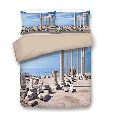 Bettbezug-Set, Inneneinrichtungen, antiken griechischen Tempel mit Wolken Griechenland mythischen Götter Ruinen europäischen Erbe dekorativ, Creme blau, dekorative 3 Stück Bettwäsche Set von 2 Pillow