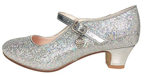 La Senorita ELSA Frozen Prinzessinnen Schuhe Silber mit kleines Herzchen Spanische Flamenco Schuhe (Größe 31 - Innenmaß 20,5 cm)