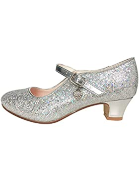 La Señorita Zapato Elsa Frozen plata corazón purpurina Flamenco Sevillanas de la princesa niña