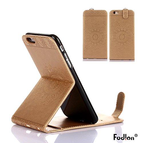 Coque iphone 6 plus/ iphone 6s plus,Fodlon® Totem Embossé Haut-bas ouvert faux cuir Flip Stand avec Noir Cordon Cas Couverture pour iphone6plus/6splus-Black Or