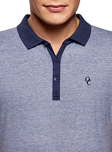 oodji Ultra Herren Poloshirt Basic mit Kontrastdetails Blau (7810S)