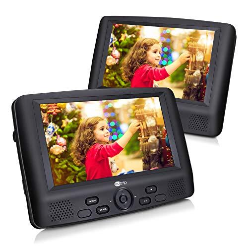 9 Zoll DVD Player Auto 2 Bildschirme Tragbarer Fernseher Monitore mit Gehäuse Kopfstütze Halterung 5 Stunden Akku für Kinder Autofahrten Urlaub Reise 9102