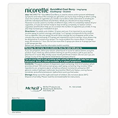 Nicorette Quickmist Mouthspray Duo Pack Berry (Stop Smoking AID) 1 Mg, Cool from Quickmist Nicorette
