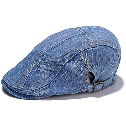 farway 1pieza Denim Jeans Washed Newsboy Boina Gorro, diseño de pato con tapa de buckle|ajustable Cabbie, hombre, azul