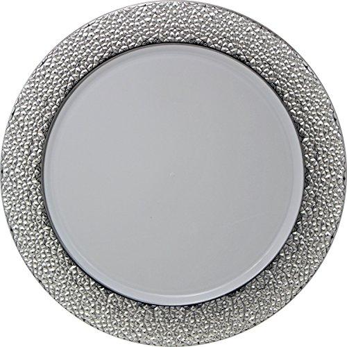 Decorline- Weiß /Silber Kunststoff rund Ladegerät Teller 33 cm Hammered Collection