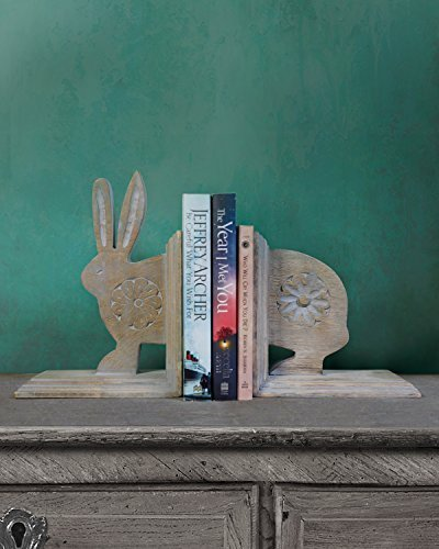 Store Indya, Lot de 2 Decorative main Sculpte Mango bois Support a la fin du livre Rabbit-forme Bookshelf Organizer Home Office Decor