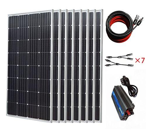 1200W netzgekoppelte Stromerzeugung per Photovoltaik:  8x 150-W-Mono-Solarzellen & Wechselrichter, 1000W, 12V - 230V, für Haushalt, Boot, RV, Wohnmobil