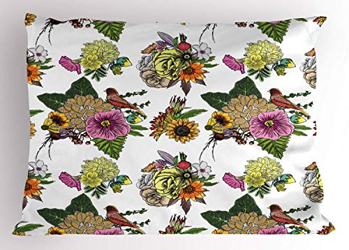 HFYZT Botanical Pillow Sham, Roses Dahlia Hibiscus with Leaves and Sunflowers Tropical Nature Composition, Decorative Standard King Size Printed Kissenbezug Pillowcase, 18 X 18 Inches, Multicolor - Dahlia Sham