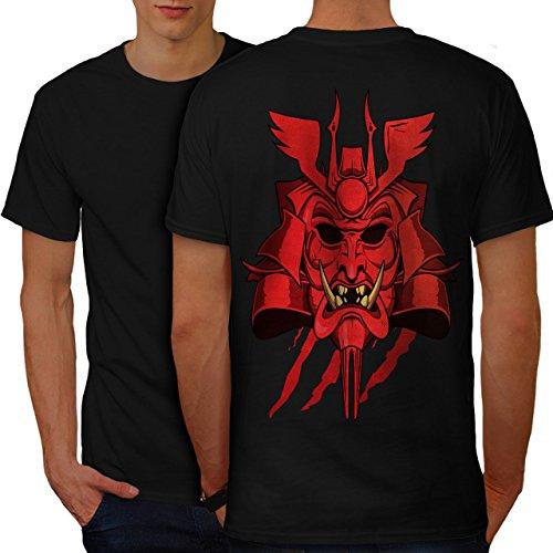 japanisch Oni Maske Fantasie Japan Stil Herren M T-shirt Zurück   Wellcoda (Japanische Wolf Maske)