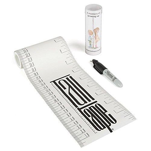 Talltape (Weiß) - Tragbare, Roll-up Messlatte Plus 1 Sharpie Mini Marker Pen, um Kinder von der Geburt bis zum Erwachsenenalter messen zu können - Auswahl an Designs