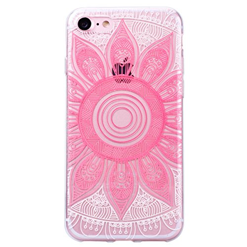 """2 x GrandEver Coque iPhone 7 4.7"""" Transparente Transparent Silicone Gel Rubber avec Souple Fine Motif Design Bumper Utra Mice Soft Doux Flexible Case Etui Cover Housse pour iPhone 7 4.7"""" --- Oiseau +  Mandala Rose + Fleur"""
