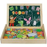 jerryvon Puzzle Magnetico Niños 160 Piezas de Madera Pizarra Magnética Infantil con Rompecabezas Caja Juguete Educativo Puzzle de Animales Regalos Juguetes Niños 3 Años