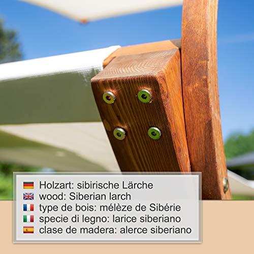 Ampel 24 Doppel-Sonnenliege Panama | 100% wetterfeste Gartenliege | verstellbares Sonnendach | Liege weiß für 2 Personen - 7