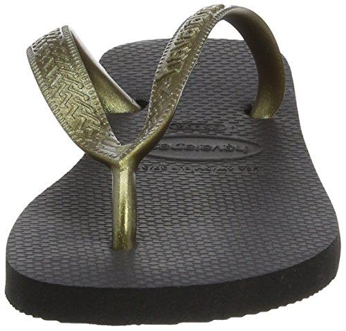 Havaianas Flip Flops Top Tiras Zehentrener für Frauen Schwarz (Black/Gold 1924)