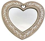 30Cm Rustic Wooden Heart Mirror ~ Shabby Chic Heart Shaped Mirror