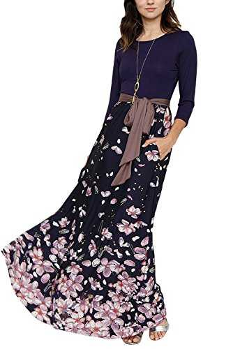 Happy Sailed Women Floral Print 3/4 Sleeve Maxi Dress With a Ribbon Belt
