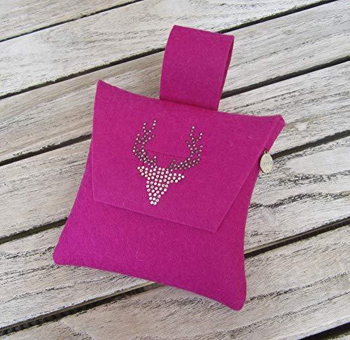 zigbaxx Wiesn-Bag WOOD STAR/Trachtentasche, Gürteltasche, Bauchtasche, Dirndl-Tasche aus Woll-Filz mit Hirsch aus Strass & Studs, grau/anthrazit-schwarz/pink/beige/braun