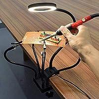 ENJOHOS Tercera Mano Soporte Soldador Lupa Soldadura Soporte multifunción Tercero 4 brazos flexibles Clip Abrazadera Lupa 3X LED 10 Base USB de aluminio de luminancia para ingeniero de soldadura