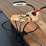 ENJOHOS Löthilfe helfende Hände, Lötstation,Dritte hand. Third Hand mit 3X USB-Lupen-Tageslicht mit LED 5 helfende Arme schwenkbare Clips