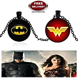 BATMAN (BLACK METAL) & WONDER WOMAN LOGO (BLACK METAL) 3D GLASS DOME IMPORTED METAL PENDANTS WITH CHAIN. LADY HAWK DESIGNER SERIES 2018. ❤ ALSO CHECK FOR LATEST ARRIVALS - NOW ON SALE IN AMAZON - RINGS, KEYCHAINS, NECKLACE, BRACELET & T SHI