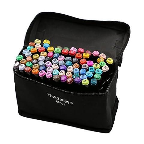 Original TouchNew 80 Farben Art Animation Design Marker Pens, Broad Feine Punkte mit Aufbewahrungstasche, T Tocas, Schwarz