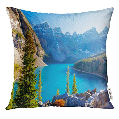 oraine Lake is Glacially Fed in Banff National Park 14 Km Outside of Louise Alberta Canada It Situated Decorative Pillow Case Home Decor Square 18x18 Inches Pillowcase ()