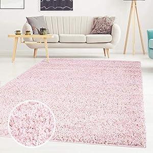 ayshaggy Shaggy Teppich Hochflor Langflor Einfarbig Uni Rosa Weich Flauschig Wohnzimmer, Größe: Läufer 80 x 150 cm