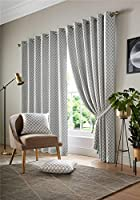 "Jacquard Moroccan-Style Patterned Silver Lined 90"" X 108"" - 229cm X 274cm Ring Top Curtains from Curtains"