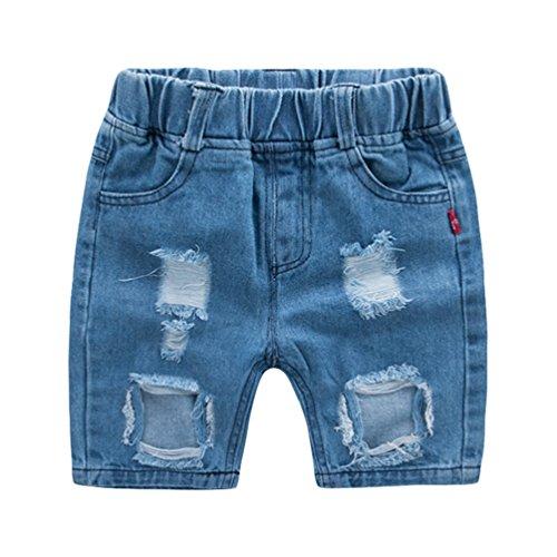Yujeet Lose Freizeit Gerade Gedruckte Jeans Shorts Hautfreundliche Atmungsaktive Elastische Taille Zerrissene Loch Stil Jeans Shorts Für Baby Jungen 90 - Zerschlissene Jeans