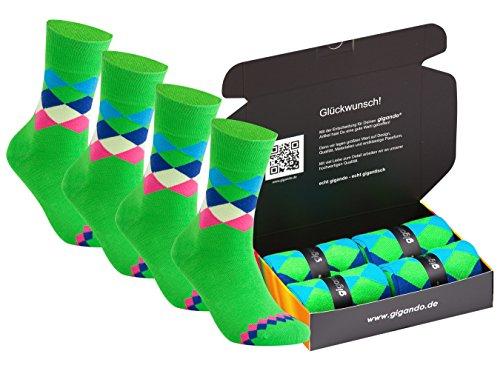 gigando | karo Baumwoll-Socken | bunte Strümpfe für Damen und Herren mit farbenfrohen, zeitlosen Karomustern | Hand gekettelt | extra feines Maschenbild | 4 Paar | grün | 39-42 | (Feine Super Polyester)