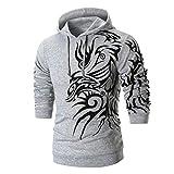Kanpola Herren Druck Pullover Kapuzenpullover Hoodie Sweatjacke Basic Sport Langarm Shirt Slim Sweater (Grau, 52)