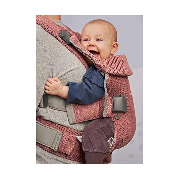 Baby Carrier One Air (Vintage Rose Mesh) Baby Bjorn •Soft and breathable mesh that dries quickly •Ergonomic baby carrier with excellent support •4 carrying positions: facing in (two height positions), facing out or on your back 4