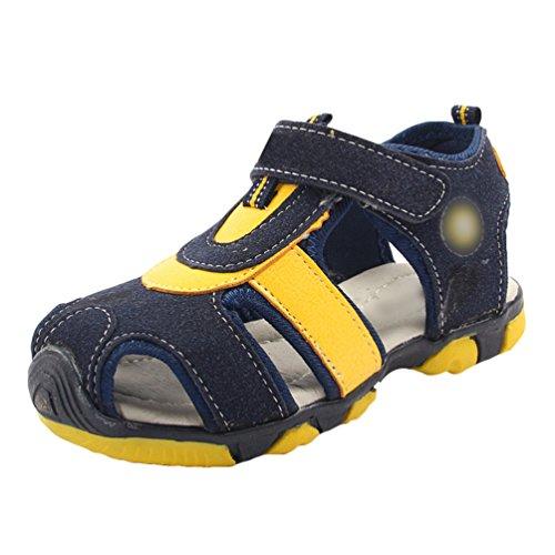 YiLianDa Sommer Jungen Sandalen Outdoor Trekkingsandalen Flach Breathable Strand Klettverschluss Kinder Schuhe Blau 23