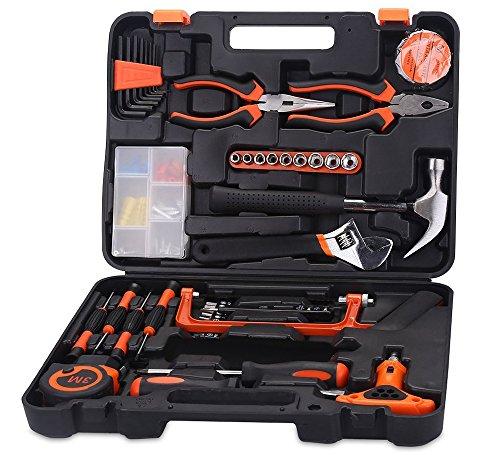 Floureon Werkzeugsatz für Heimwerken und Haushalt, mit Schraubendreher, Schraubenschlüssel, Zangen, Säge, Klemme, Hammer, Teststift, in robustem Werkzeugkoffer