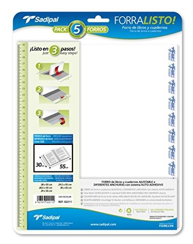 Sadipal 2211 - Blíster 5 forros para libros, 30 cm alto