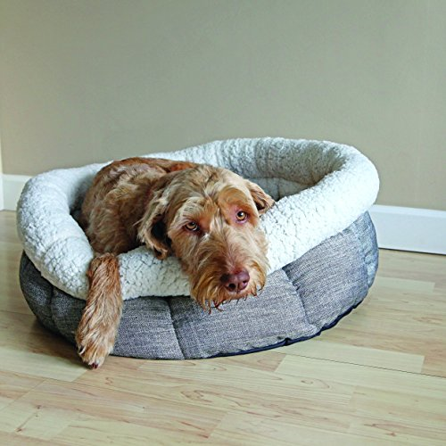 Rosewood-Soft-And-Comfortable-Quality-Dog-Cat-Deep-Oval-Shaped-Bed-Machine-Washable-With-Super-Soft-Fleece-Size-20inch505cm-Grey
