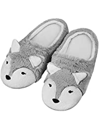 Lovely Fox Slipeprs, Women Girls Thermal Fleece House Indoor Slippers Fuzzy Clog Mule Skid-proof Sole Footwear Home Shoes with Warm Lining