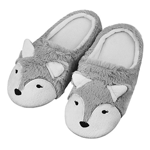 Ladies Plush Cute Cartoon Fox Slippers Thermal Slipper Home Slippers for Women Girls Indoor Shoes Soft Cotton Warm Slippers Floor Shoes Padded Anti-Slip Wool Slip-on Shoes House Footwear