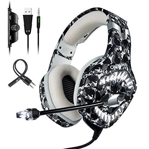 ONIKUMA Cascos Gaming de Camuflaje para PS4 / PC/Xbox One, K1 Pro Auriculares Gaming con Bass Surround Cancelacion Ruido, Profesional con Micrófono Limpio Sonido 3.5mm, Luces LED con Adaptador 2 en 1