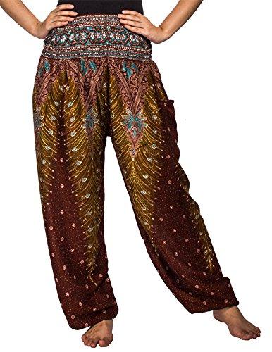 Lofbaz Damen Haremshose mit gesmoktem Buntes Pfauenmuster 1 Braun - Zigeuner Stammes Bauchtanz Kostüm