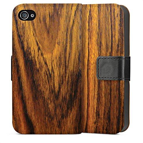 Apple iPhone 5s Housse Étui Protection Coque Look bois Bois de violette Sol en bois Sideflip Sac