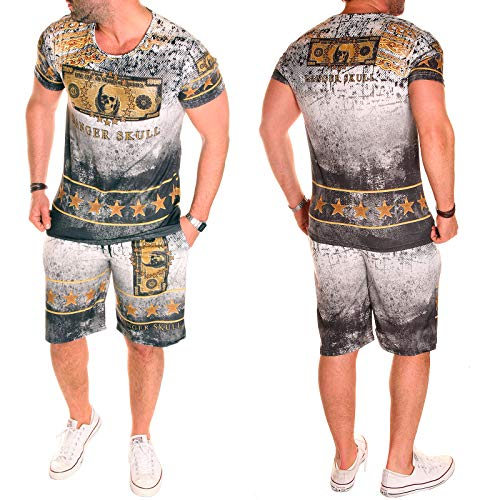 Herren Jogginganzug Sportanzug Trainingsanzug T-Shirt + Short 2er Set Sport Training Fitness Sommeranzug (XXL (fällt aus: XL), Modell So.A.04 (R.E))