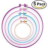 NUOLUX 12.7cm/ 16.5cm/ 20cm/ 24cm/ 27.2 cm 5pcs Tambour rond de broderie Croix Stitch Hoop Ring (couleur aléatoire)