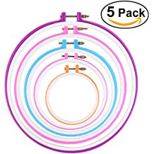 Bastidor de bordado de anillo cruz puntada aro - PIXNOR 5 pulgadas a 11 pulgadas círculo bordado de tambor (Random Color)