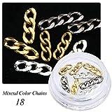 HUYDLD Adesivo per unghie Gioielli per nail art 18 Bottiglie Accessori Perni a catena in oro e argento Scrub Chiodo in oro di fascia alta