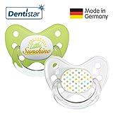 Dentistar® Silikon Schnuller 2er Set inkl. 2 Schutzkappen - Nuckel für Babys Größe 3, ab 14 Monate – Sterne & Little Sunshine