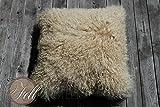 Tibetlammfell Kissen, Fellkissen aus Tibet Lammfell / Mongolisches Lammfell XF Beige Rückseite aus Stoff, ca. 45 x 45 cm
